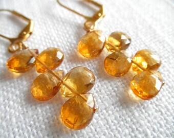 Citrine earrings - gold earrings - golden - yellow orange earrings - E A R R I N G S 277