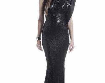 Asymmetrical Sequin  Gala Dress