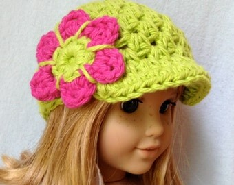 Easter American Girl Doll, Hot Green Beanie, Brim, Newsboy Hat, Pink, Gifts for Girls, Birthday Gifts,JE258NAGD5