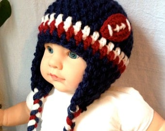 Child, Baby Hat, Football BEANIE, Navy Blue,, Pick Color, Ear Flaps, Chunky, Soft, Warm, Baby Gifts, Gifts for Girls, Prop JE610EF5