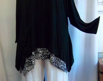 Plus Size Tunic, Coco and Juan Lagenlook, Plus Size Top, Black Knit 1 Pocket Angled Tunic Top One Size Bust  to 60 inches