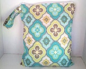 Lime, teal, yellow Wet Bag, waterproof, washable Zippered, you pick size, zipper, &strap style, for cloth diapers, swimsuits, gym, kitchen