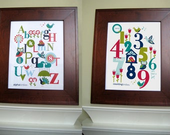 BONUS Buy - Two 8 x 10 Kids Digital Wall Art - ABC & 123 NAVY Duo