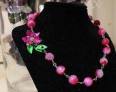 Neon Agate Necklace with Vintage Flower