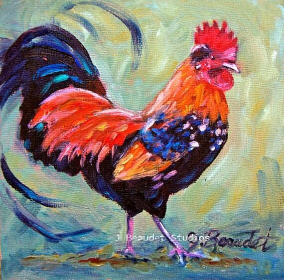 Print Of Original Oil Painting Rooster Barn By JBeaudetStudios