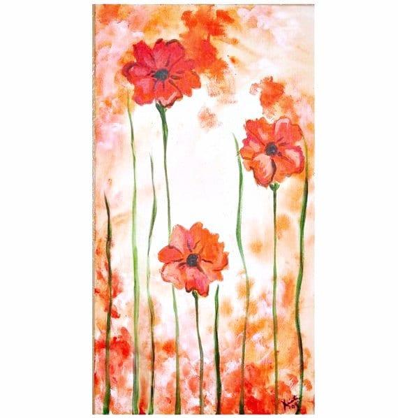 Three Orange Poppies Commission by Kristen Dougherty