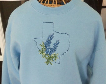 Texas Bluebonnet Sweatshirt in Cross Stitch
