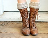 Boot Toppers, Cuffs, Knitted in Oatmeal Gray Wool, (B01)