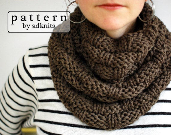 Basket Weave Infinity Scarf Knitting Pattern Chunky Cowl PDF