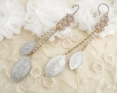 earrings catholic medal assemblage religious long upcycled jewelry