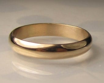 Men's Gold Wedding Band, 4mm recycled 14k Gold Ring, Made to Order