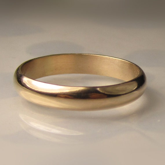 Mens Gold Wedding Band 4mm Recycled 14k Gold Ring By JanishJewels