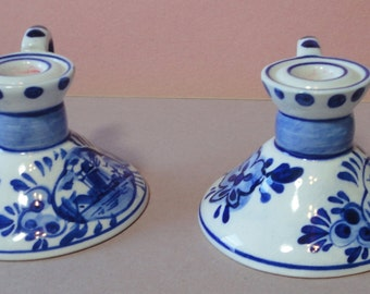 Vintage Elesva Delft Candle Holders. Set of 2