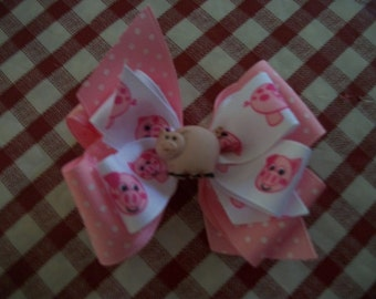 Toddler Hair Bow, Pink Pig  Print on a Pink Swiss Dot  Double Boutique Hair Bow with Pig Button