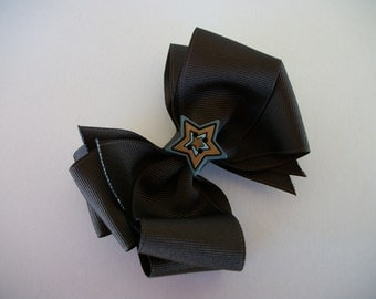 Western Star Hair Bow, Brown  Double Stacked Hair Bow, Girls Cow Girl Hair Bow, Bow, Hairbow