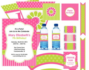 Pink and Lime Green Flower Party Kit Printable  - 12 pcs - Instant Download DIY