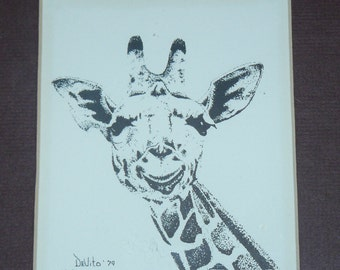 Charming GIRAFFE Signed Lithograph Limited Edition Wild Life Picture Donna Devito