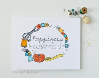 Yellow, Blue, Orange 8 x 10 Art Print, Happiness is Handmade, I love sewing, sew
