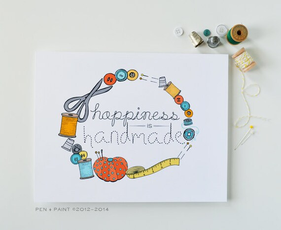 Yellow, Blue, Orange 8 x 10 Art Print, Happiness is Handmade, I love sewing, sew