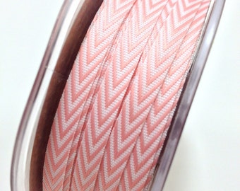 Chevron Twill Herringbone Ribbon - Pink - 1/4 Inch Width - Packaging and Gift Ribbon 50 Yards Full Spool Single Color
