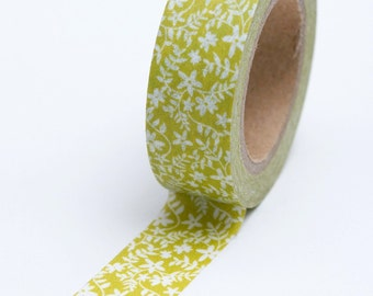 Washi Tape - 15mm - White Tiny Flowers on Chartreuse - Deco Paper Tape No.684