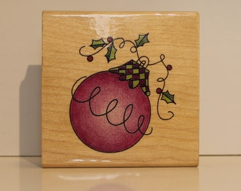 Christmas Ornament on Holly Rubber Stamp