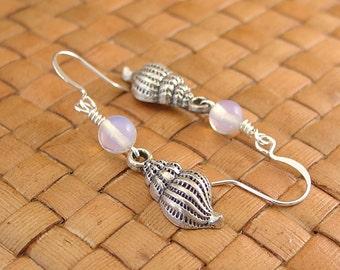 Opalite and Sea Shell Charm Earrings