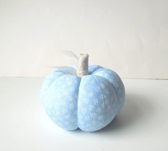 Cornflower Blue and White Pumpkin Pincushion