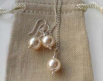 Cream Pearl Necklace Earrings set  /  Sterling Silver / Swarovski Pearl /  pearl set  / Bridesmaid Personalized