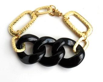 Gold Chain Bracelet Black Chunky links Statement Bracelet / Geo links Bracelet / Arm Candy Gold Bracelet / Trendy  Bracelets / Urban chic