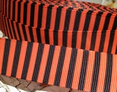 """7/8"""" HALLOWEEN VERTICAL STRIPE Orange and Black Grosgrain Ribbon Bows Crafts sold by the yard"""