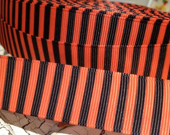 "7/8"" HALLOWEEN VERTICAL STRIPE Orange and Black Grosgrain Ribbon Bows Crafts sold by the yard"