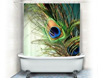 "Peacock feather Fabric Shower Curtain ""Teal Peacock Feather"" green,blue, bathroom,home decor,bath,nature,aqua,homewares"