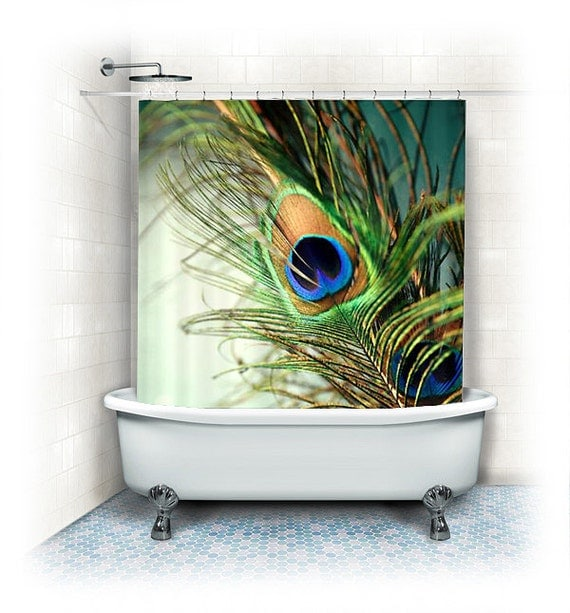 Peacock feather Fabric Shower Curtain Teal by VintageChicImages
