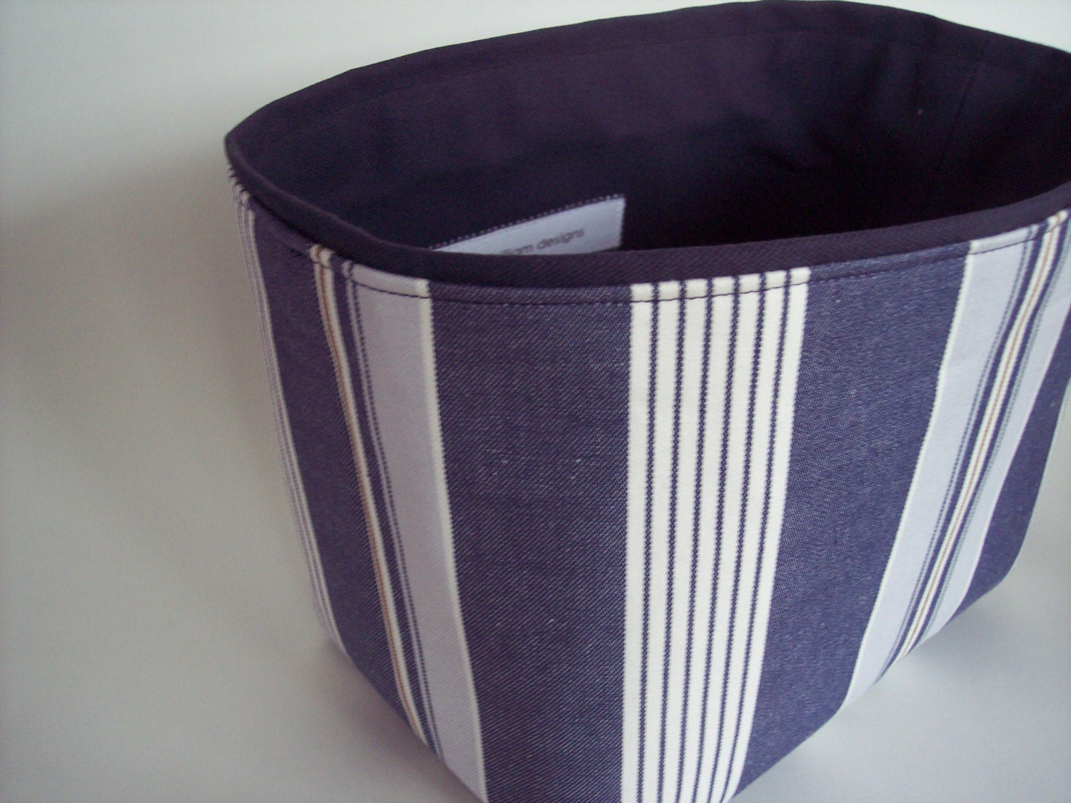 Blue And White Stripe Medium Storage Bin Basket