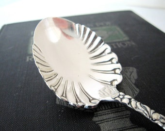 Antique Silverplate Sugar Spoon, Scroll 1890 by Rogers Anchor Art Nouveau