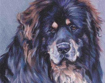 Tibetan Mastiff portrait art CANVAS print of LA Shepard painting 8x8 dog art