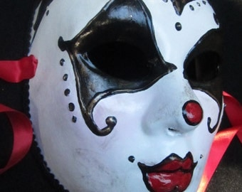 Tears of a Clown Mask, full faced female vintage clown paper mache masquerade mask
