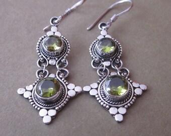 Outstanding Sterling Silver peridot dangle Earrings / 1.9 inch / silver 925 / Balinese handmade jewelry