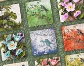Peaceful Garden Printable Collage Sheet / Gardening / Flowers / Birds - INSTANT DOWNLOAD 1x1 Inch Square Tiles Digital JPG Collage Sheet