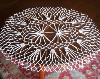 DOILY Large Oval CROCHETED LACE Cotton Crochet Golden Ecru Fine Filet Runner
