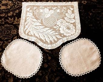 Table Runner Scarf Vintage Tea Tone Needle Lace Antimacassar & Linen Ovals Set 3