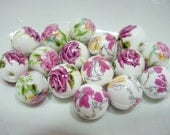 Pink And White Floral Tensha Beads, Rose Tensha Beads, 10 MM Floral Bead Lot, Destash