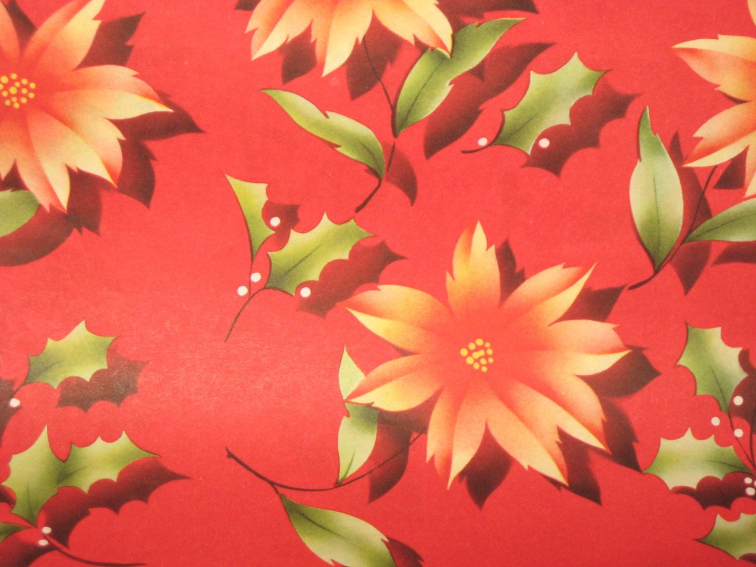 1930 Vintage Christmas Wrapping Paper Poinsettias Holly
