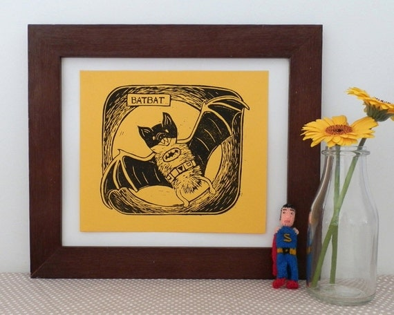 Batbat Comic Book Animals Linocut
