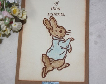 Peter Rabbit Bookmark - Set of 10 - Baby Shower Favor - Birthday Favor -  Boy - Neutral - You Choose Ribbon
