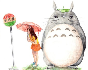 Waiting for the Cat Bus --Totoro Print