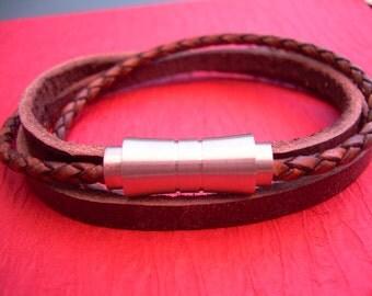Leather Wrap Bracelet, Leather Bracelet,  Mens Bracelet, Mens Jewelry, Stainless Steel Magnetic Clasp, Double Wrap,