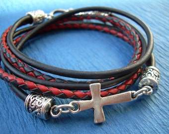 Leather Bracelet, Red and Black, Cross Bracelet, Cross, Religious Gift, Mens Bracelet, Womens Bracelet, Faith
