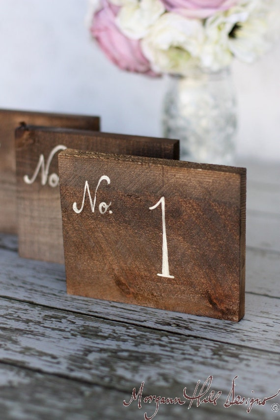Rustic table numbers barn wood wedding decor by braggingbags